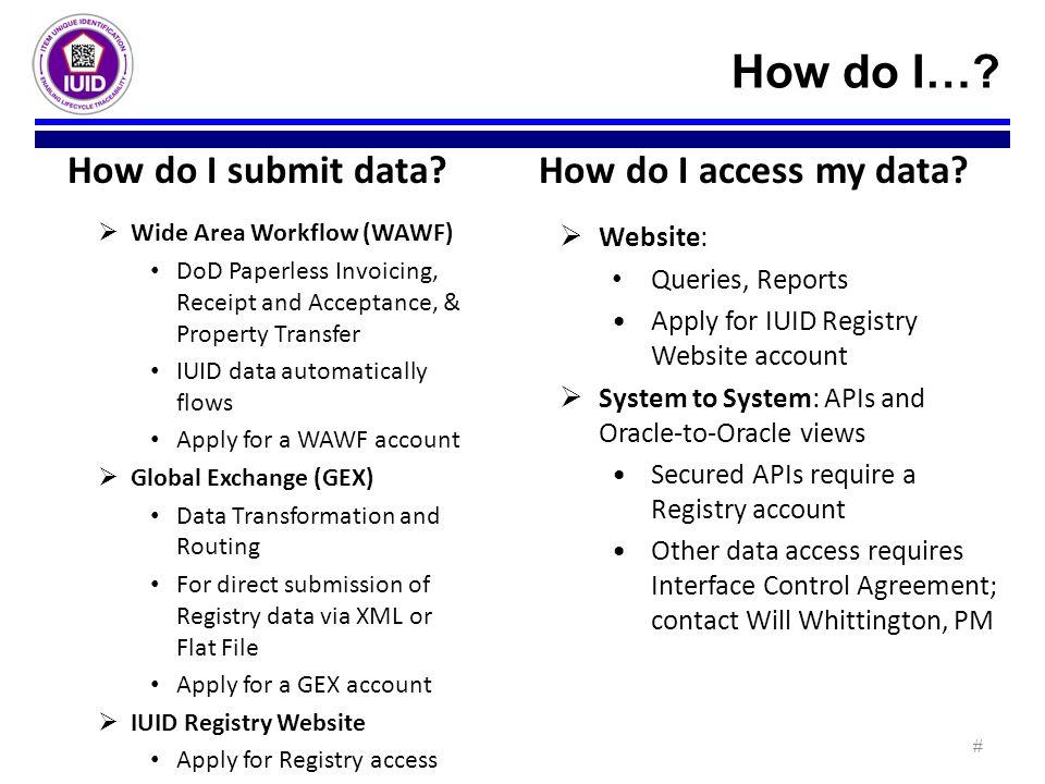 How do I… How do I submit data How do I access my data Website: