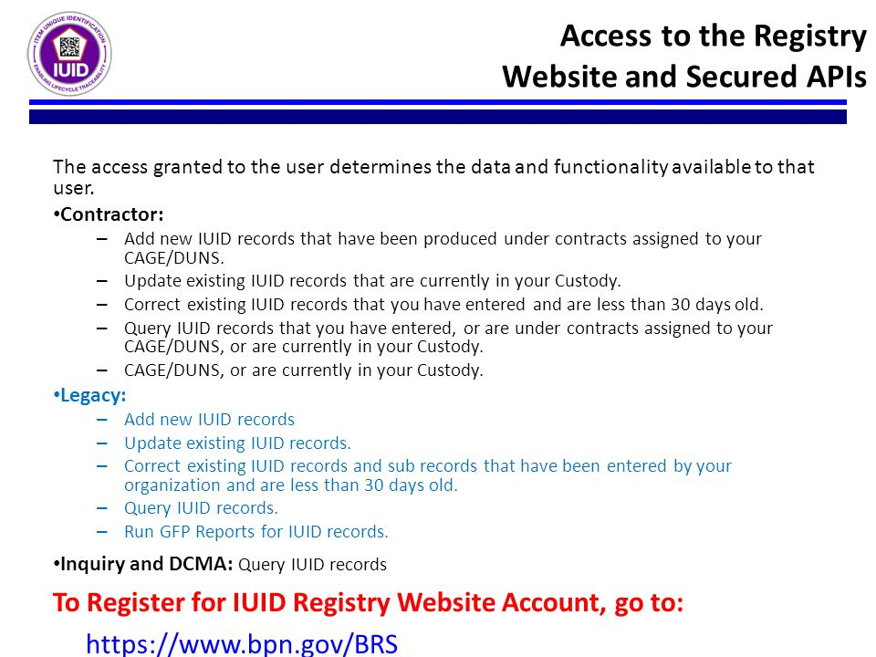 Access to the Registry Website and Secured APIs