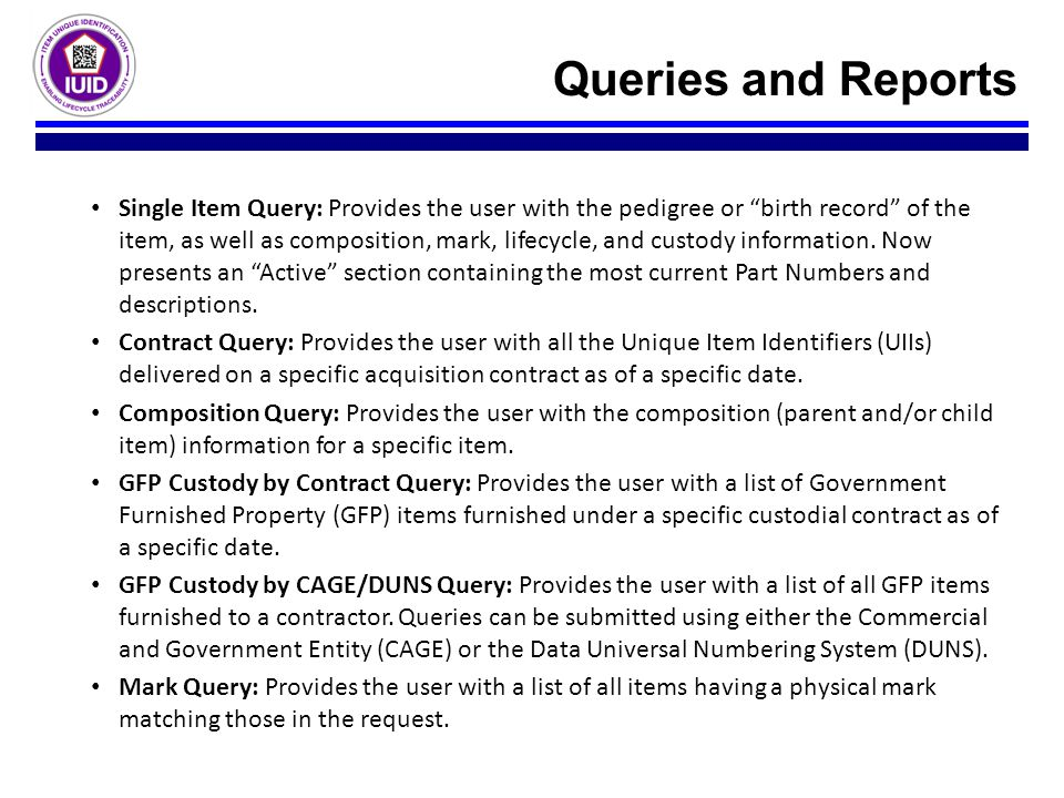 Queries and Reports