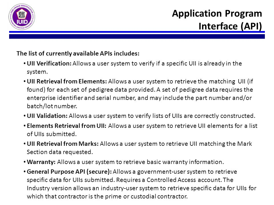 Application Program Interface (API)