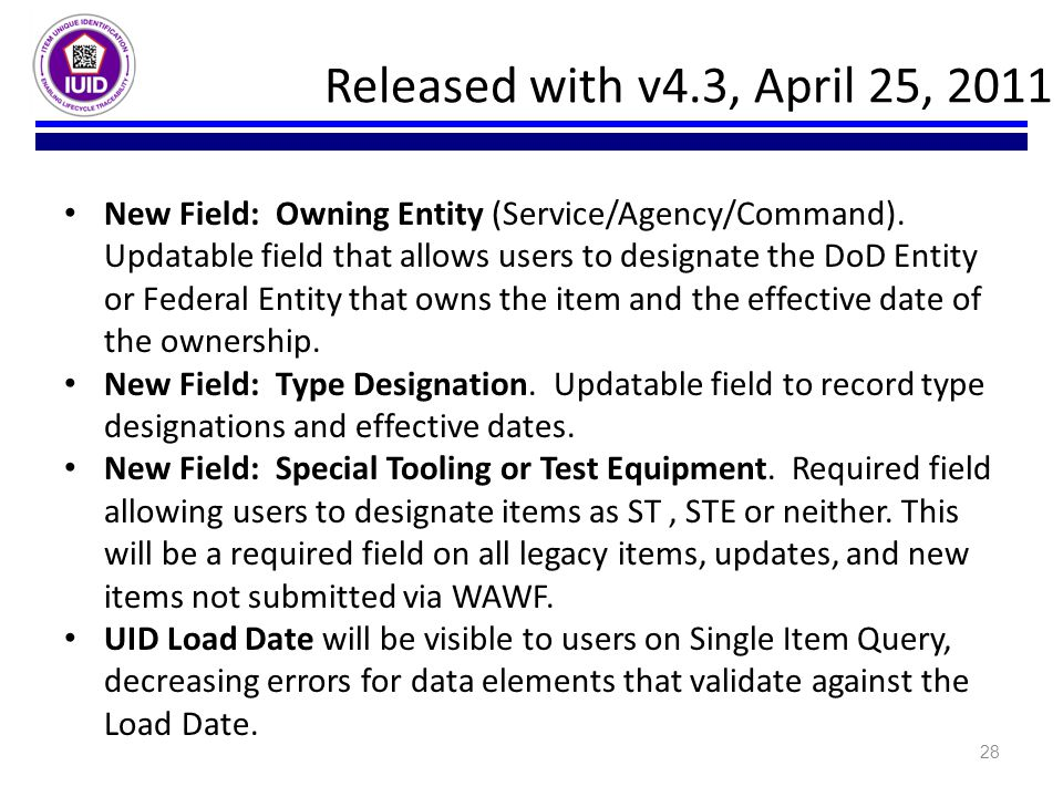 Released with v4.3, April 25, 2011