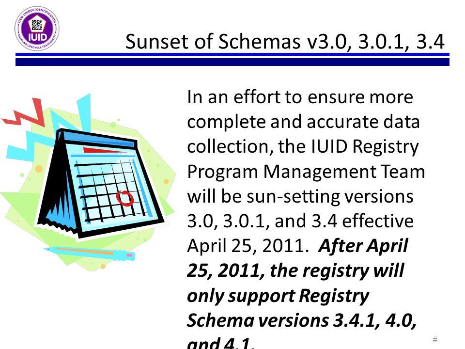 Sunset of Schemas v3.0, 3.0.1, 3.4