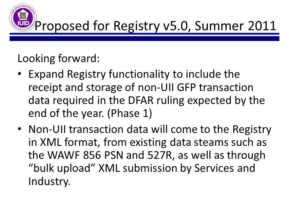 Proposed for Registry v5.0, Summer 2011