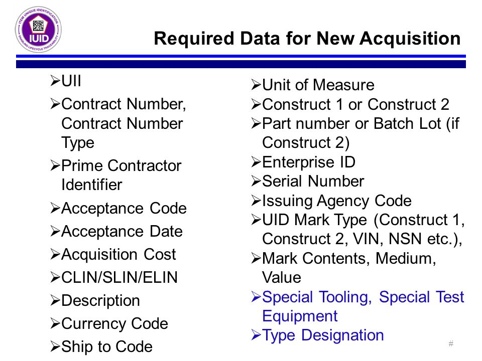 Required Data for New Acquisition