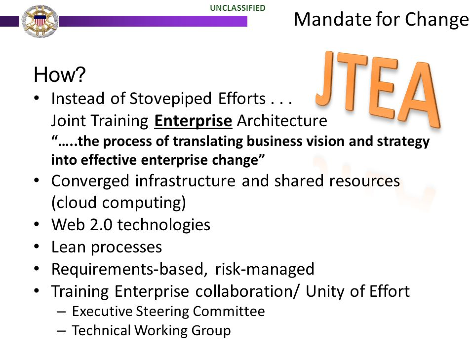 JTEA Mandate for Change How