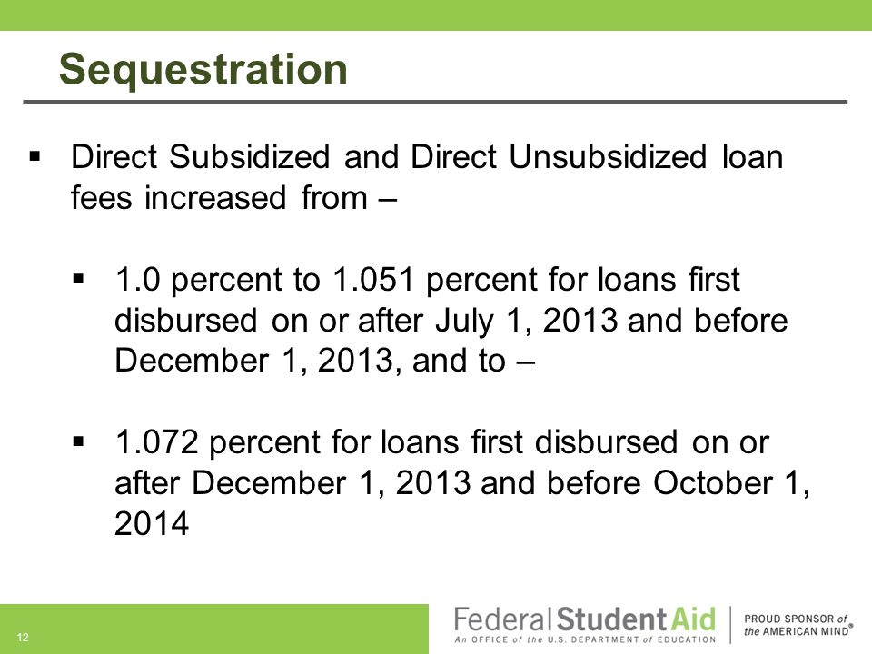 Sequestration Direct Subsidized and Direct Unsubsidized loan fees increased from –