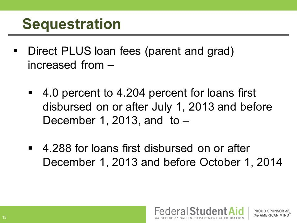 Sequestration Direct PLUS loan fees (parent and grad) increased from –