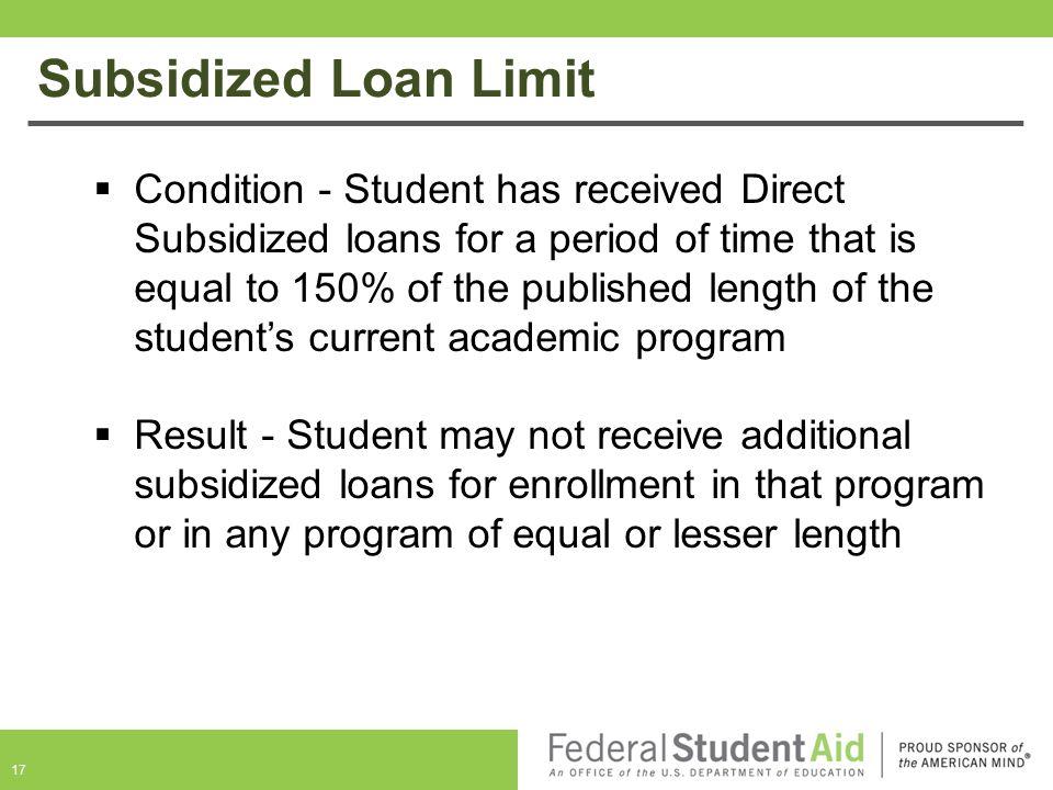 Subsidized Loan Limit