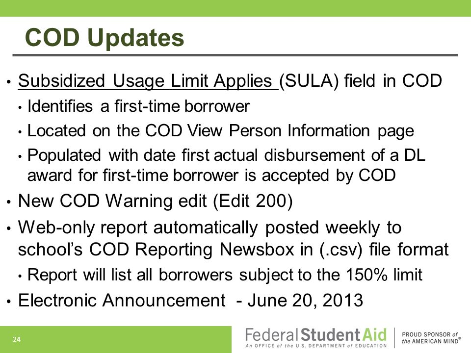 COD Updates Subsidized Usage Limit Applies (SULA) field in COD