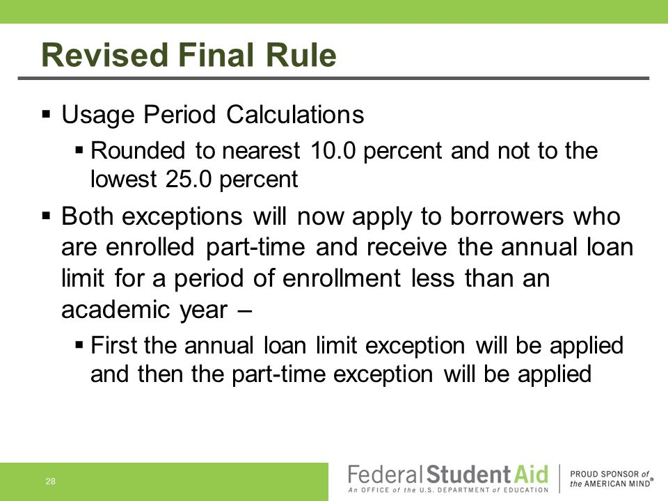 Revised Final Rule Usage Period Calculations
