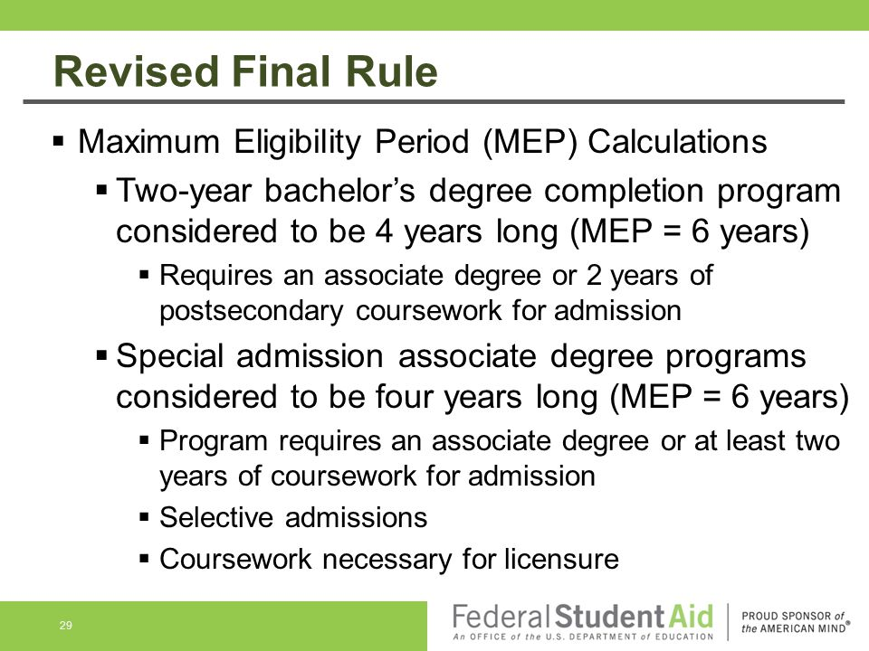 Revised Final Rule Maximum Eligibility Period (MEP) Calculations