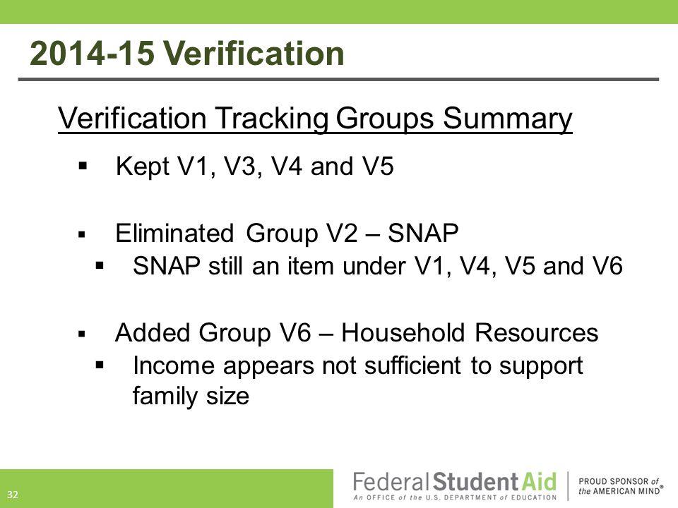 2014-15 Verification Verification Tracking Groups Summary