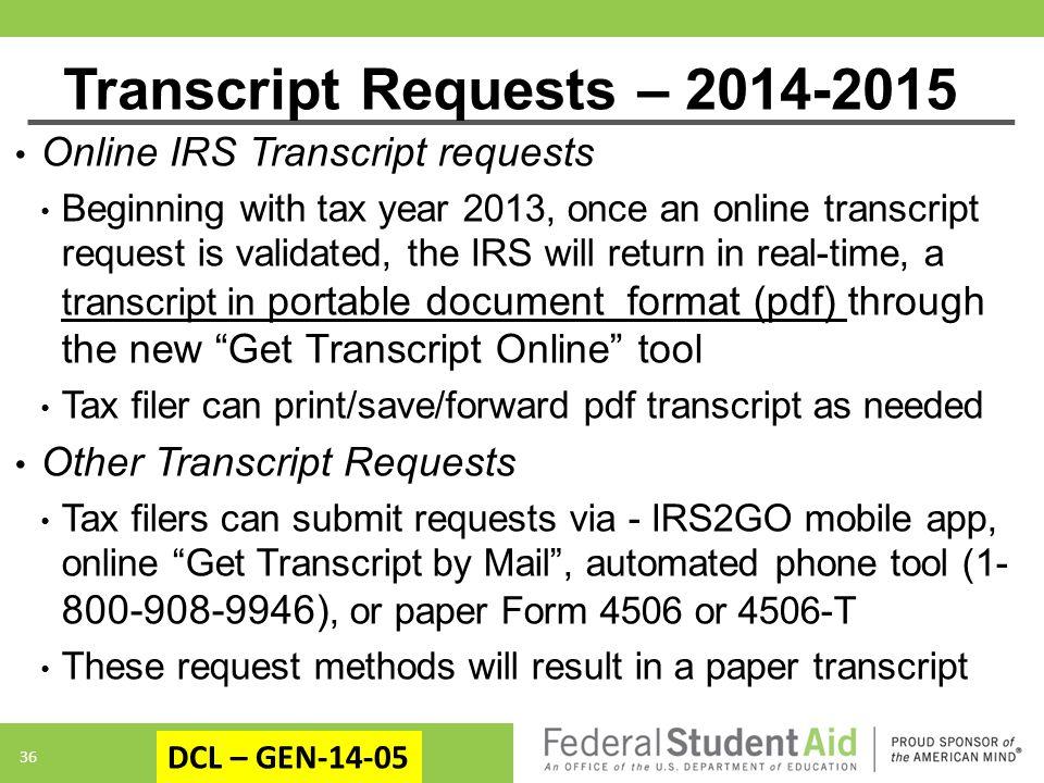 Transcript Requests – 2014-2015