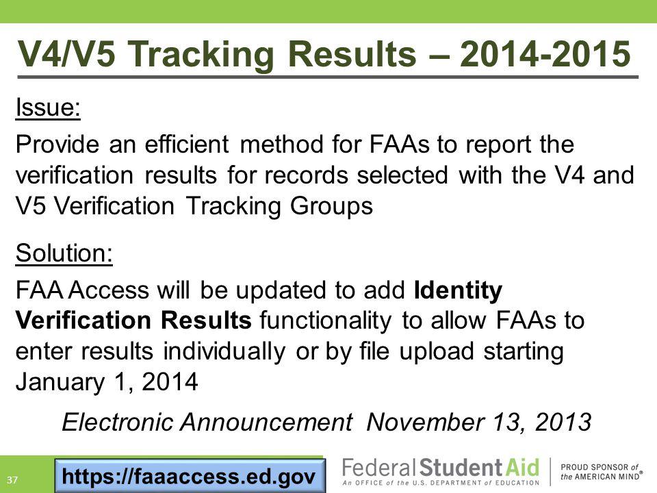 V4/V5 Tracking Results – 2014-2015
