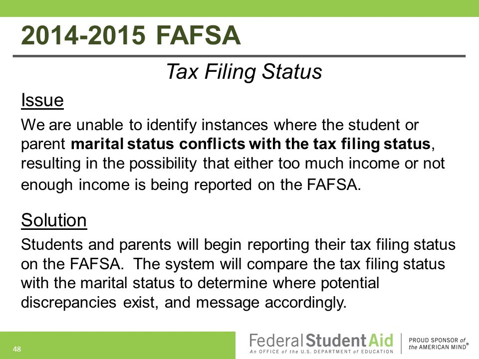 2014-2015 FAFSA Tax Filing Status Issue Solution