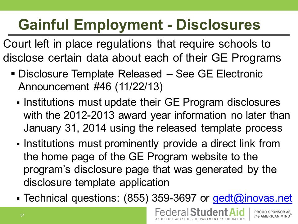 Gainful Employment - Disclosures