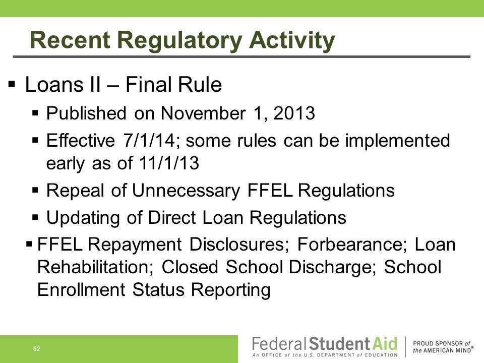 Recent Regulatory Activity