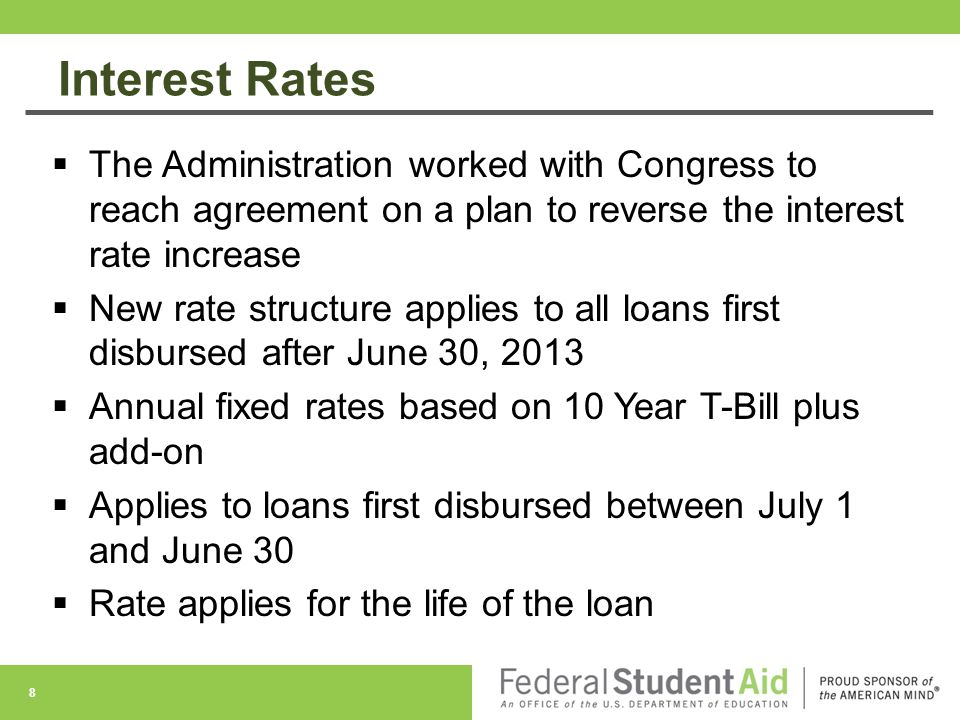 Interest Rates The Administration worked with Congress to reach agreement on a plan to reverse the interest rate increase.