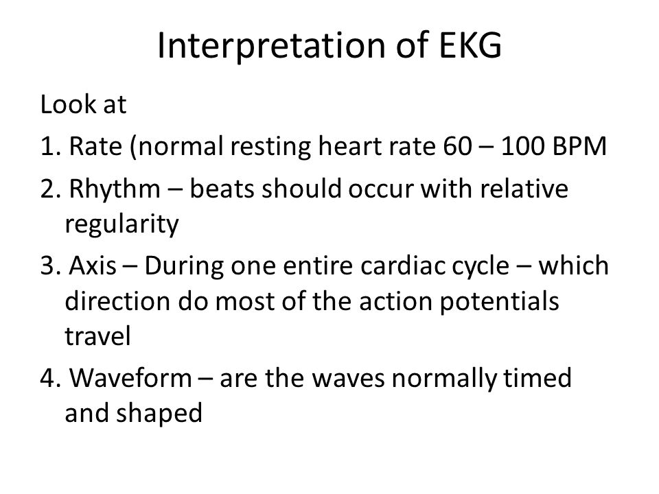 Interpretation of EKG