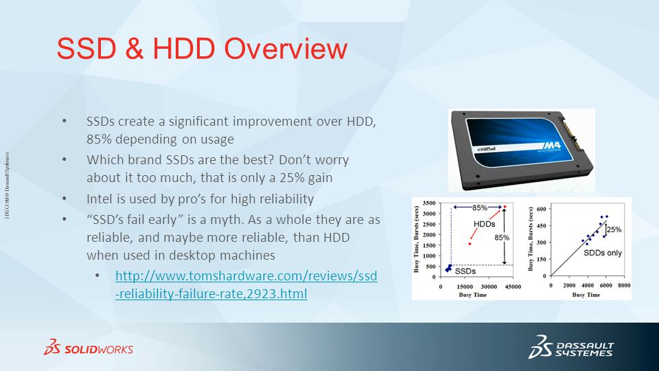 SSD & HDD Overview SSDs create a significant improvement over HDD, 85% depending on usage.