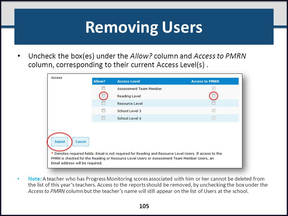 Removing Users Uncheck the box(es) under the Allow column and Access to PMRN column, corresponding to their current Access Level(s) .