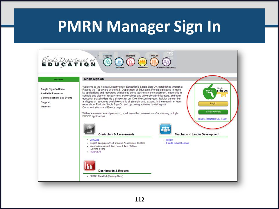 PMRN Manager Sign In Present slide.