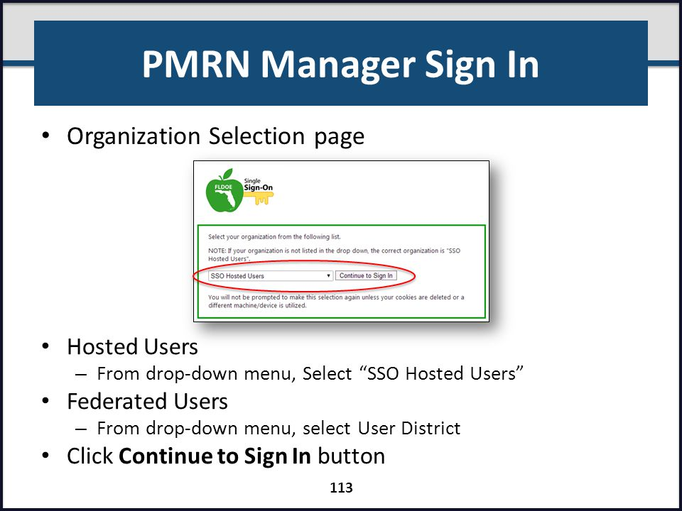 PMRN Manager Sign In Organization Selection page Hosted Users