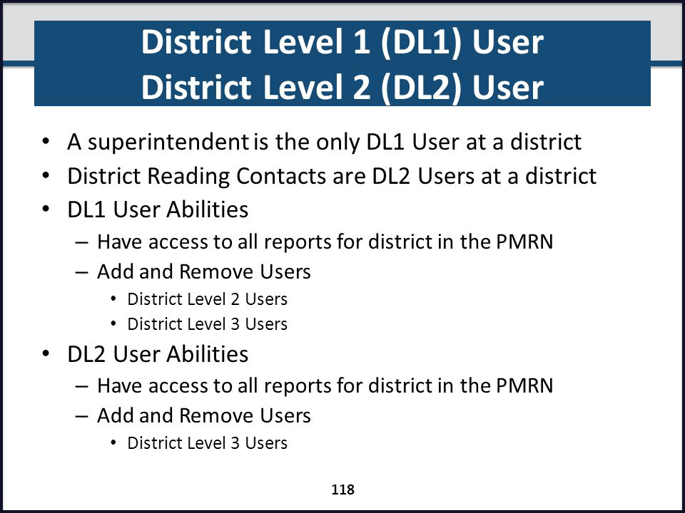 District Level 1 (DL1) User District Level 2 (DL2) User