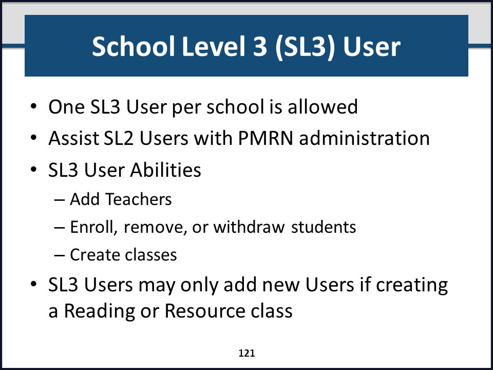 School Level 3 (SL3) User One SL3 User per school is allowed