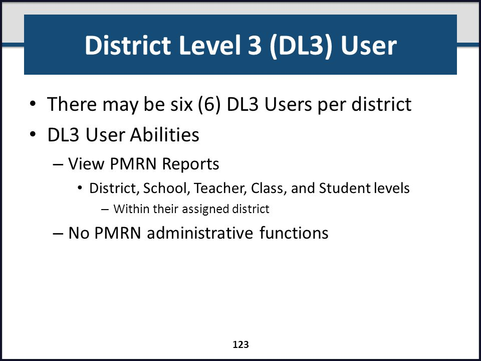 District Level 3 (DL3) User