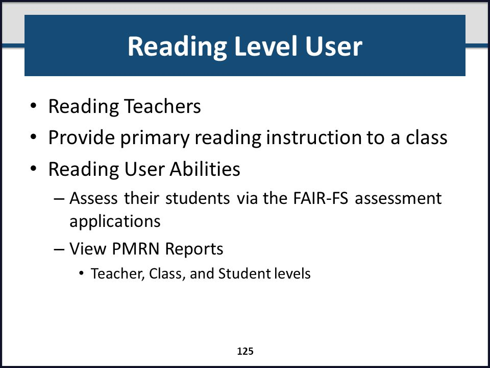 Reading Level User Reading Teachers