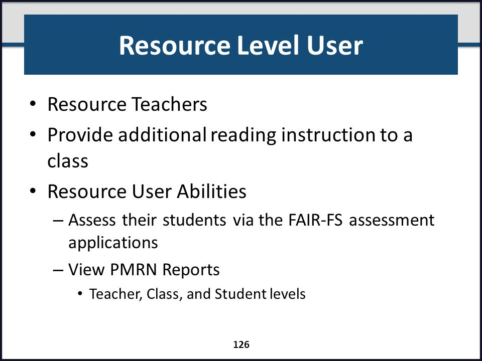 Resource Level User Resource Teachers