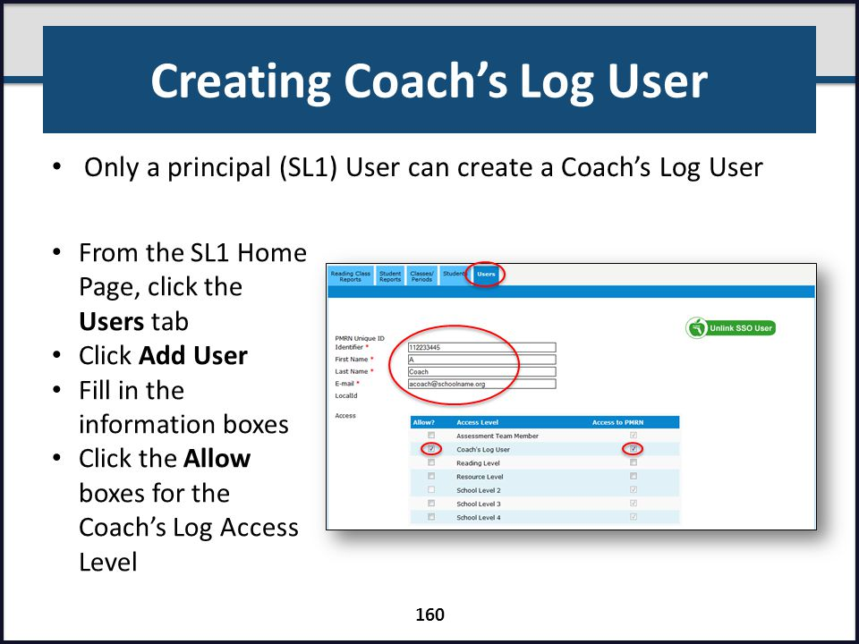Creating Coach's Log User
