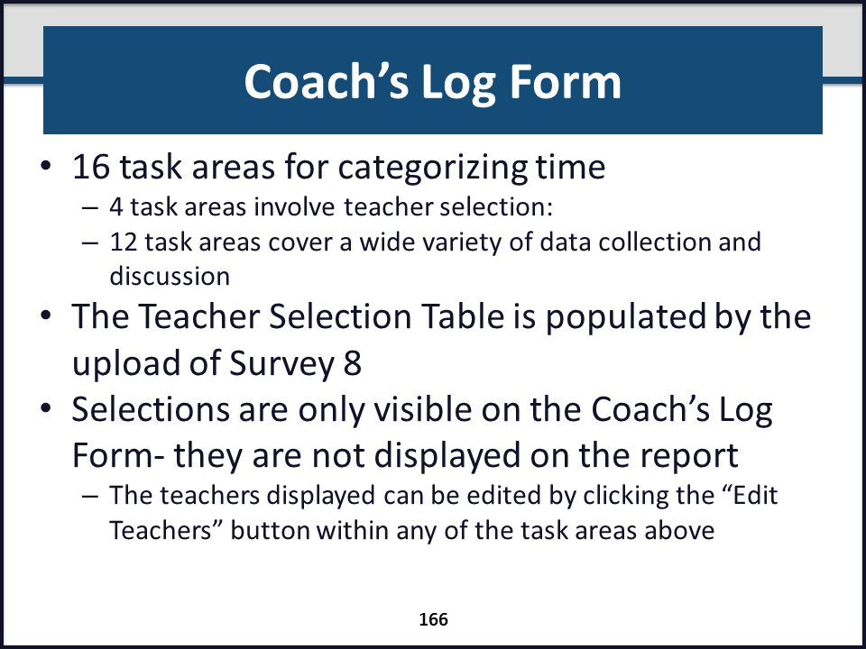 Coach's Log Form 16 task areas for categorizing time