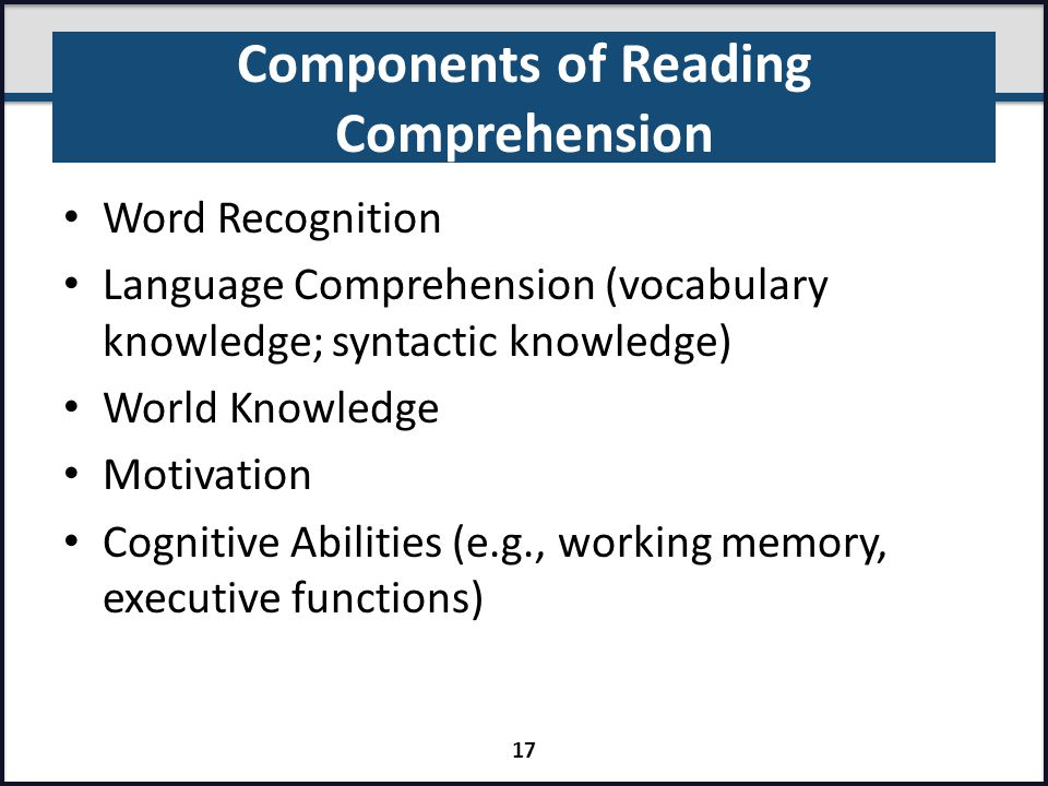 Components of Reading Comprehension