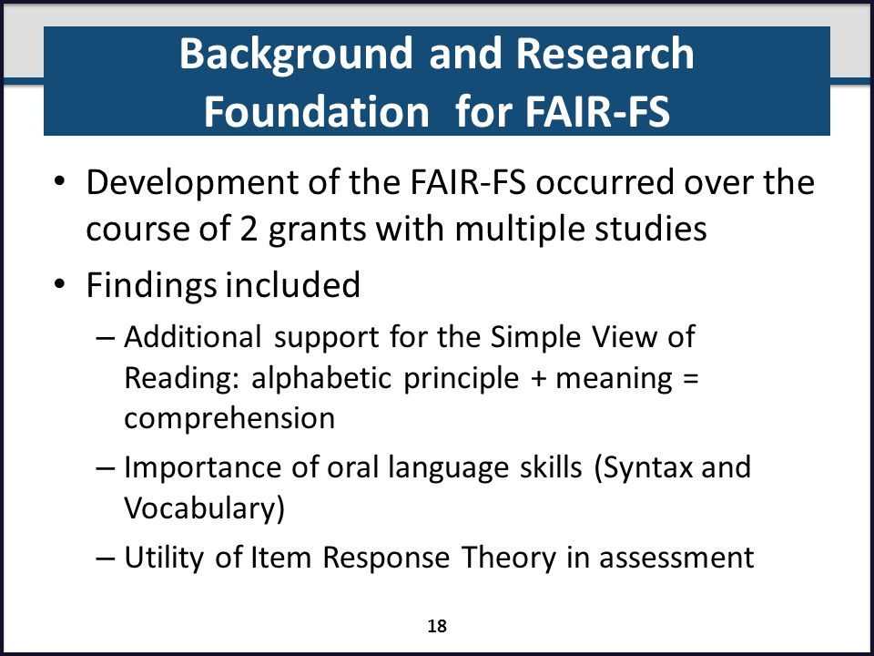 Background and Research Foundation for FAIR-FS