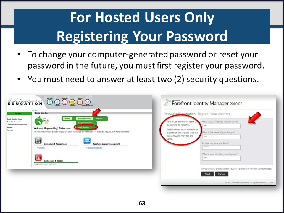 For Hosted Users Only Registering Your Password