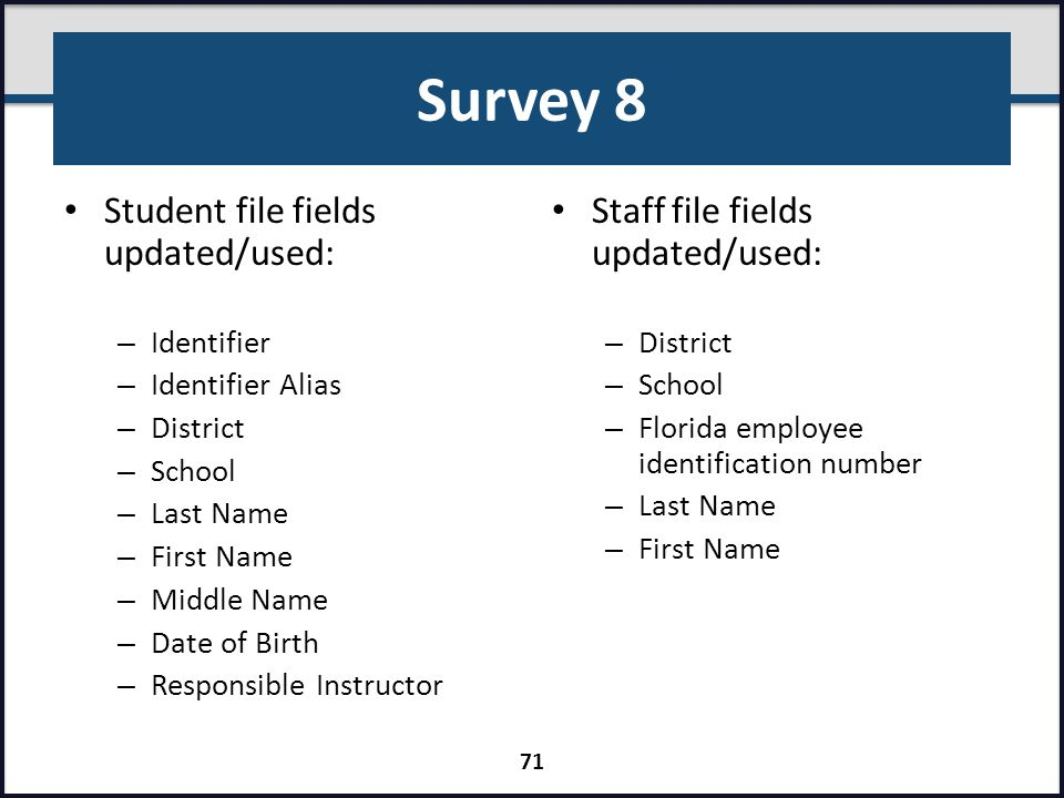 Survey 8 Student file fields updated/used: