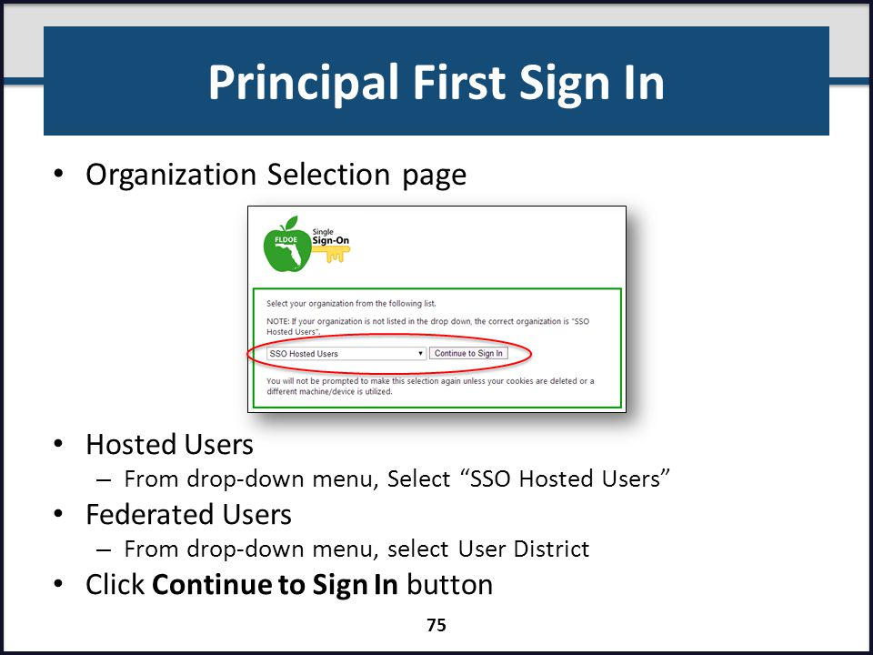 Principal First Sign In