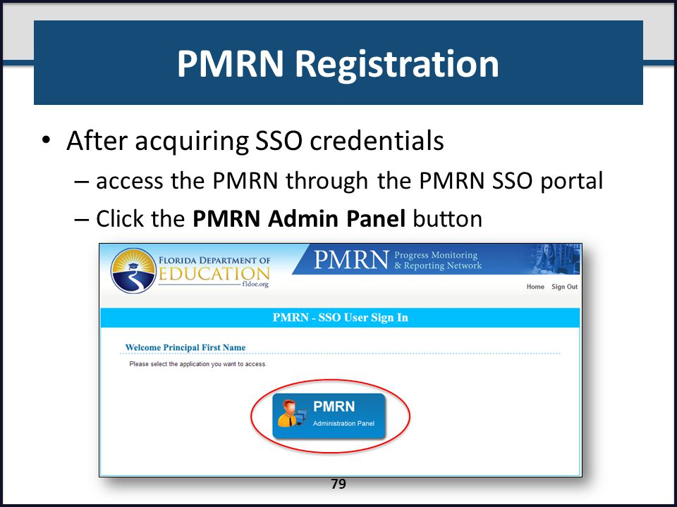 PMRN Registration After acquiring SSO credentials
