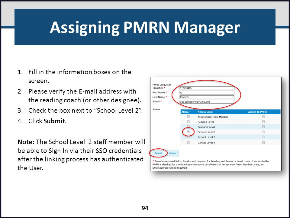 Assigning PMRN Manager