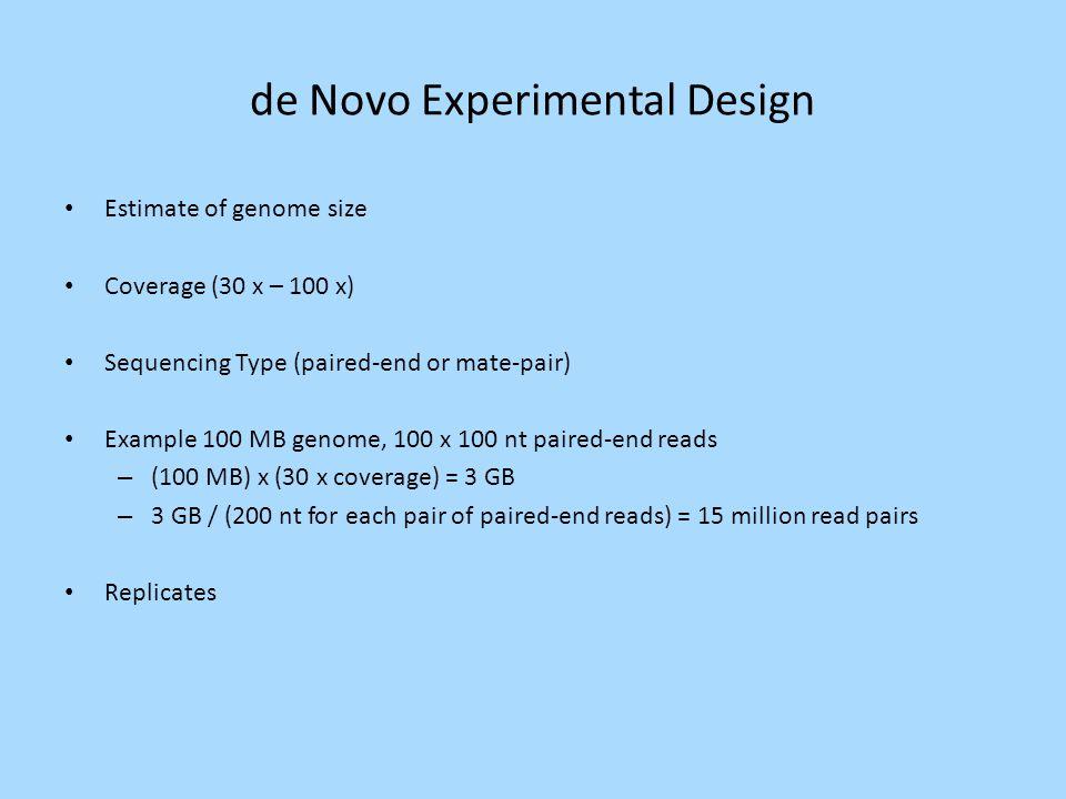 de Novo Experimental Design
