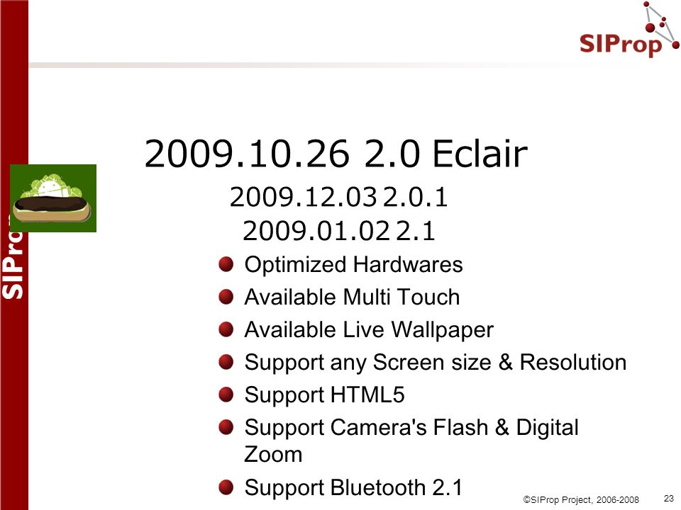 2009.10.26 2.0 Eclair 2009.12.03 2.0.1. 2009.01.02 2.1. Optimized Hardwares. Available Multi Touch.