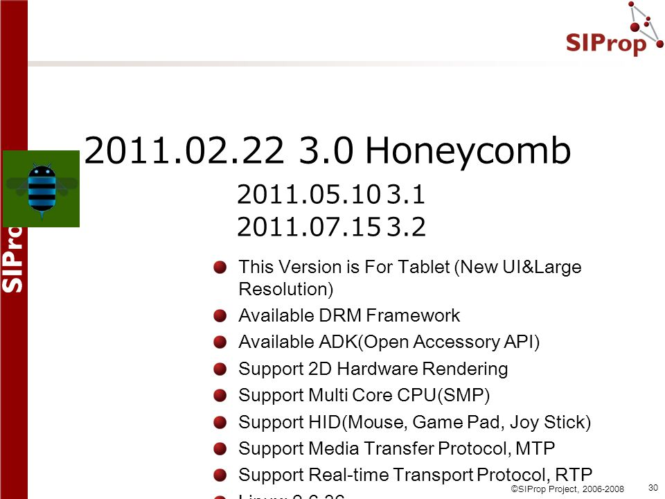 2011.02.22 3.0 Honeycomb 2011.05.10 3.1. 2011.07.15 3.2. This Version is For Tablet (New UI&Large Resolution)