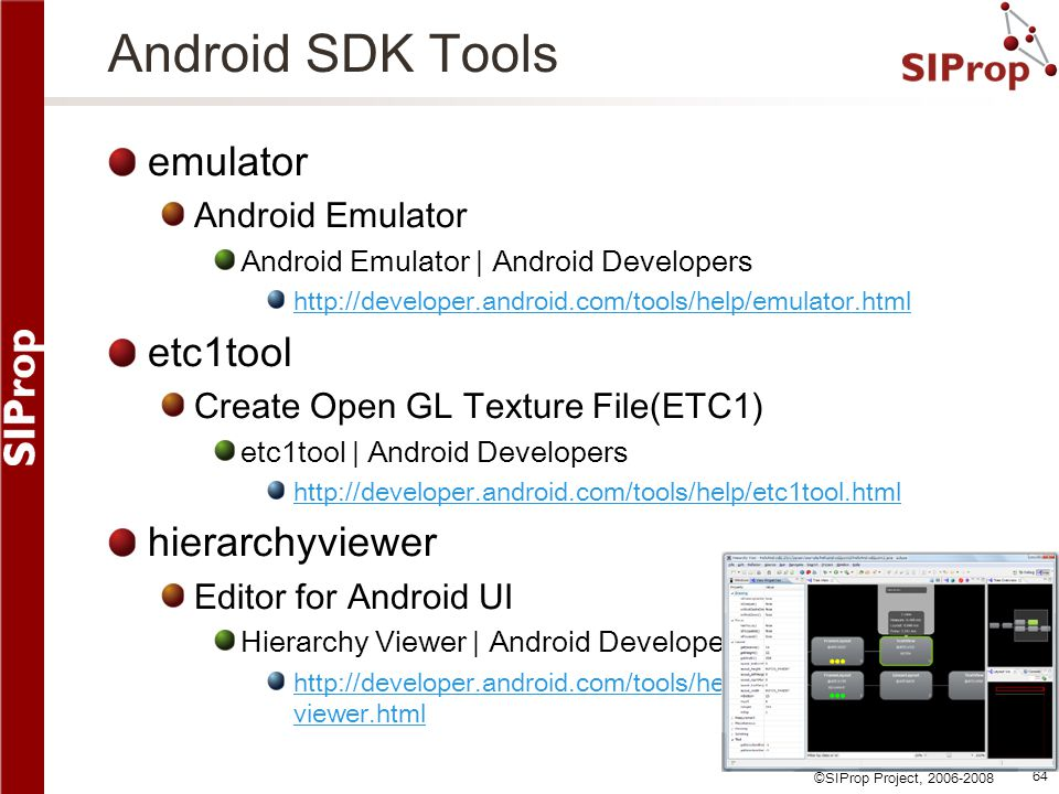 Android SDK Tools emulator etc1tool hierarchyviewer Android Emulator