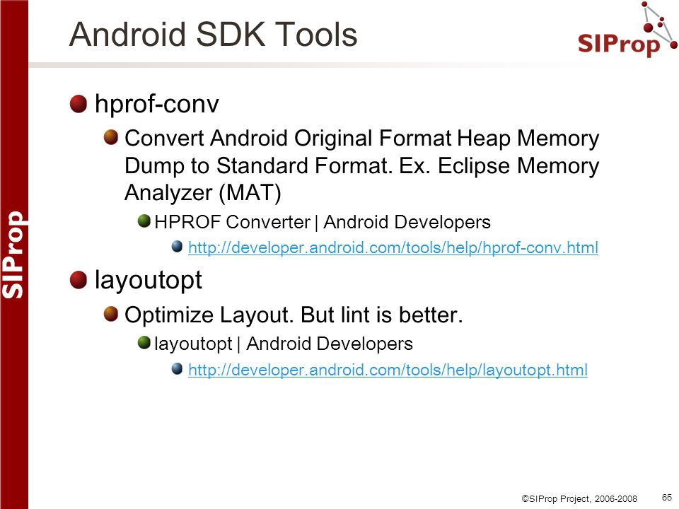 Android SDK Tools hprof-conv layoutopt