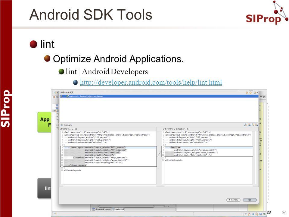 Android SDK Tools lint Optimize Android Applications.
