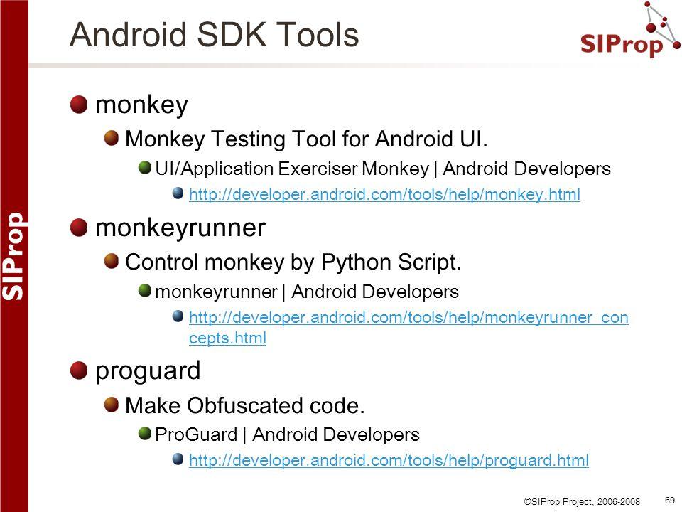 Android SDK Tools monkey monkeyrunner proguard