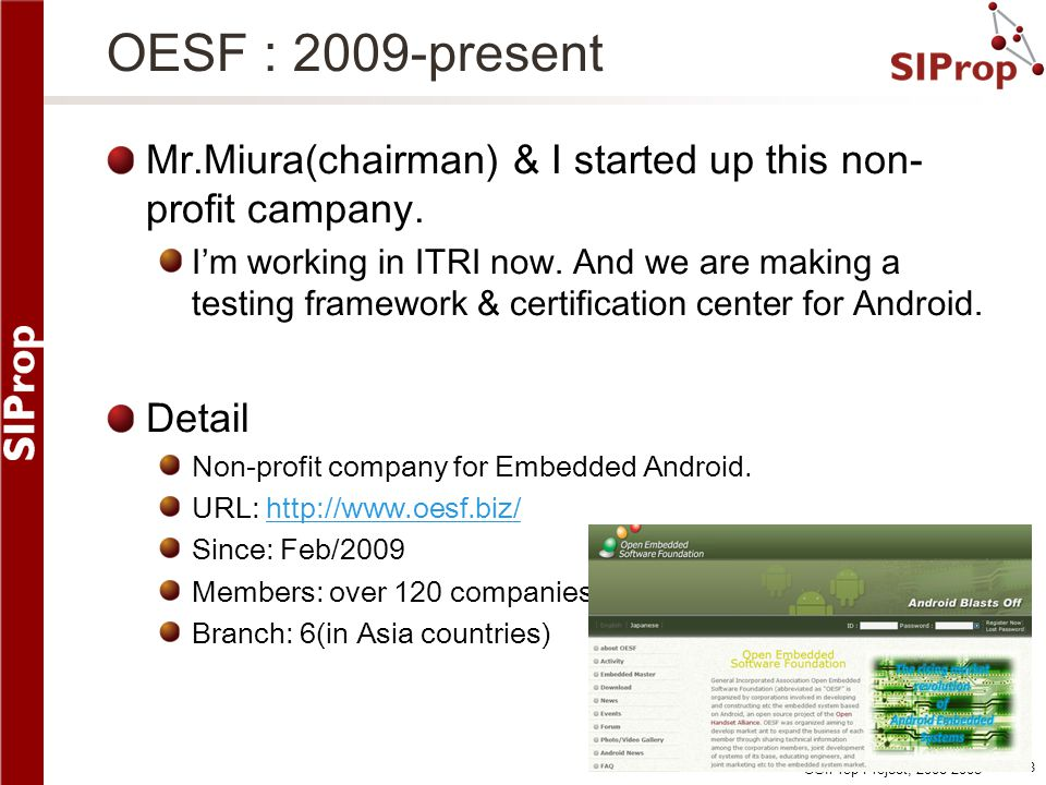 OESF : 2009-present Mr.Miura(chairman) & I started up this non-profit campany.