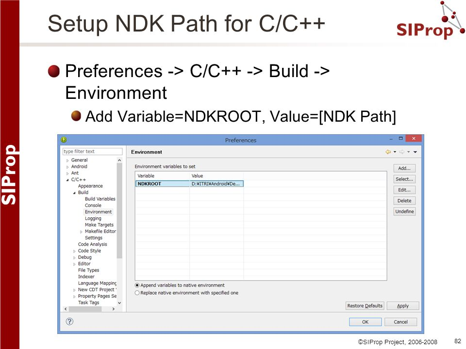 Setup NDK Path for C/C++